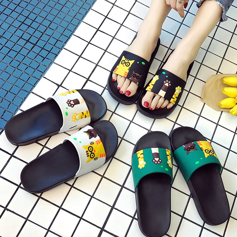 Women Slippers Summer Women Slides Cute Cat Cartoon Platform Sandals Slip On Flip Flops Beach Slippers Zapatillas Mujer