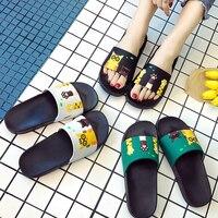 Femmes pantoufles été femmes diapositives mignon chat dessin animé plate-forme sandales sans lacet tongs plage pantoufles Zapatillas Mujer