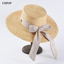 Шляпа от солнца uspop из рафии женская модная Панама натуральной