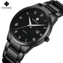 2017 Nueva Marca de Relojes de Estilo WWOOR Fecha Día Acero Inoxidable Relojes Vestido de Los Hombres Reloj de Cuarzo Ocasional Reloj Deportivo Relojes Visto