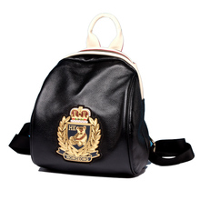 Fashion small black backpacks for girls casual Preppy Style sac casual circular back bags genuine  cow leather cattlehide women