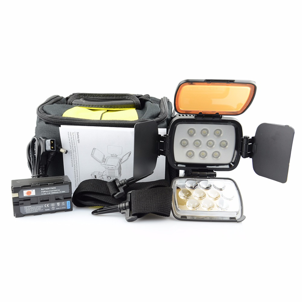 DSTE VL001A Video Light + NP-F750 Battery for SONY DSLR Camera Camcorder DV Dimmable LAMP 5500K/3200K