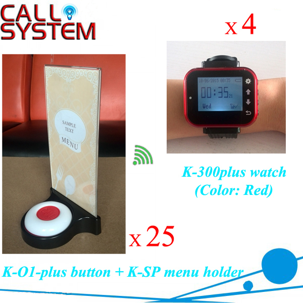 Service Paging Bell Systems for catering equipment 4 watches for waitress + 25pcs menu holder button
