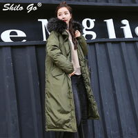 SHILO GO Plus size Fur collar Hooded women coat parkas Winter army green causal pleated waist warm coat thicken outwear female