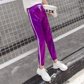6bc80295 PENERAN в полоску женские спортивные брюки спортивные штаны 2019 бег брюки  для девочек женские спортивные штаны Высокая талия мотобрюки Active Wear Ф..