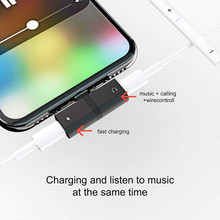 For iPhone X 10 7 8 Plus Audio Charging Dual Adapter Splitter Cable For Lightning Jack to Earphone AUX Cable Connector Converter