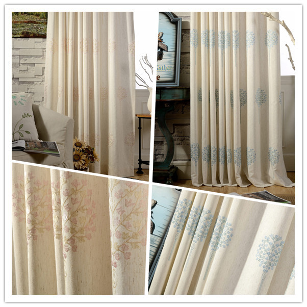 Fine Embroidered Curtains, Pale Pink And Light Blue, Two