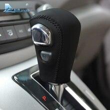 Airspeed из натуральной кожи прошитый вручную чехол для рычага переключения передач для Honda CRV CR-V 2007-2011 автоматический коричневый черный Автомобильный Стайлинг