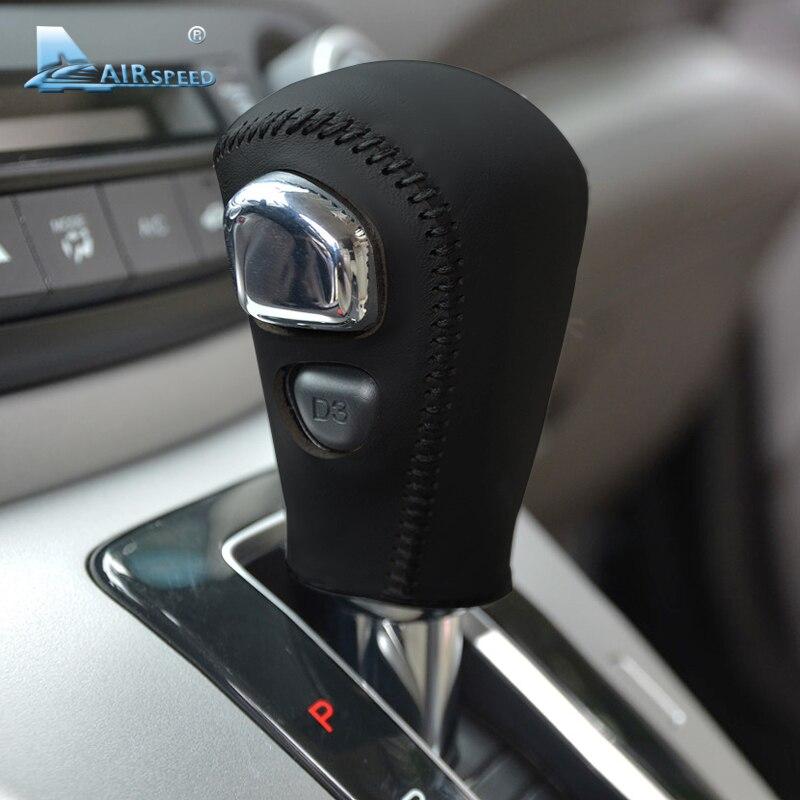 Fluggeschwindigkeit Echtes Leder Hand genäht Schaltknauf Abdeckung für Honda CRV CR-V 2007-2011 Automatische Braun Schwarz Car Styling