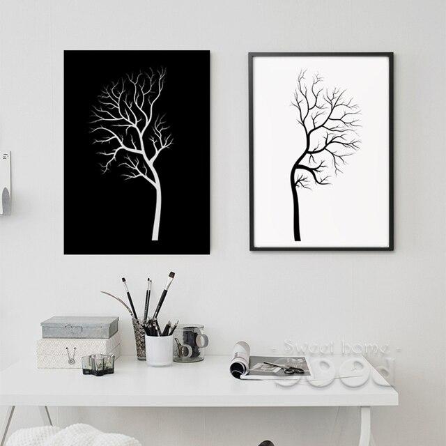Schwarz Weiß Baum Leinwand Malerei Plakat, Wandbilder Für Wohnzimmer  Dekoration, Rahmen Nicht Enthalten