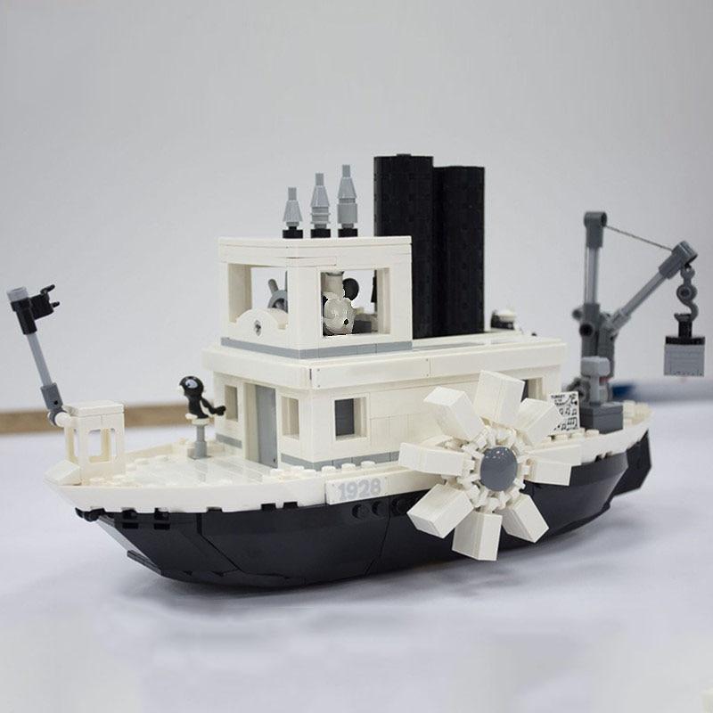 Disneying Steamboat Willie Model Building Blocks Classic Cartoon Movie Series 16062 Bricks Kids Gifts 21317