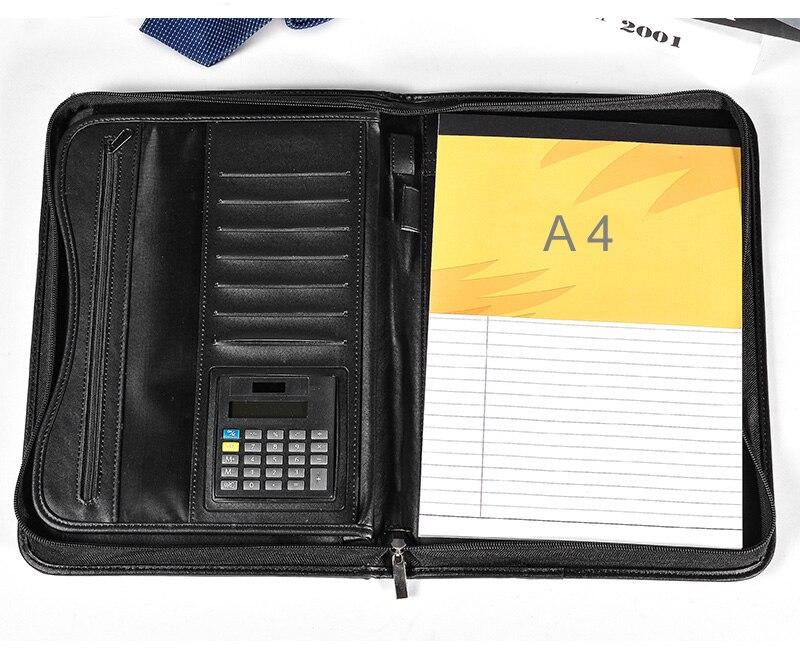 Sac de documents pour classeurs durables, sacoche de documents multifonction en cuir PU à fermeture éclair, pochette en A4, fournitures de bureau