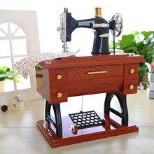 Retro Vintage Lockwork Sewing Machine Music Box Kid Child Treadle Sartorius Toys Birthday Gift Home Decor