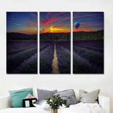 3 Pieces Lavandula Fields And Balloon Scenery Canvas Art Painting Print Poster Modular Picture For Home Decoration Living Room