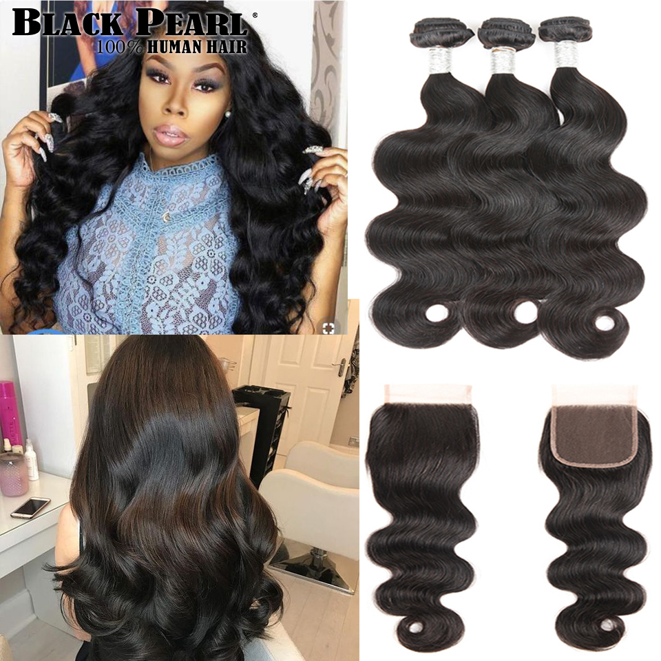 Black Pearl Body Wave Bundles Med Lukning Brazilian Hair Weave - Menneskehår (sort)