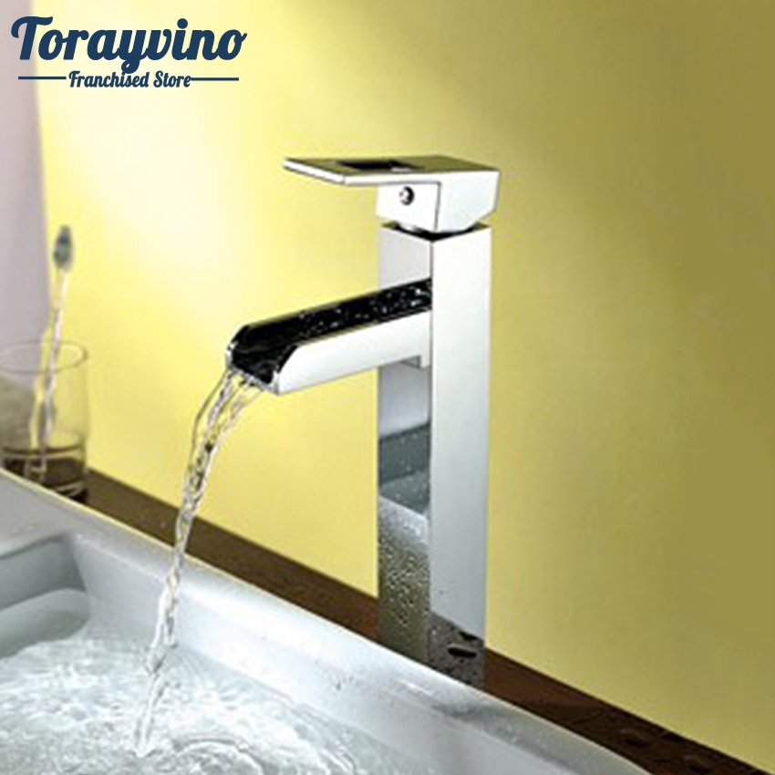 Torayvino Bathroom Tall Waterfall Tap Bathroom Basin Mixer Waterfall Faucet Torneira Chrome Vanity Vessel Mixers Taps Faucets nieneng big discount basin washroom mixer bathroom faucet tap mixers wc sanitary ware water toilet taps polished chrome icd60157