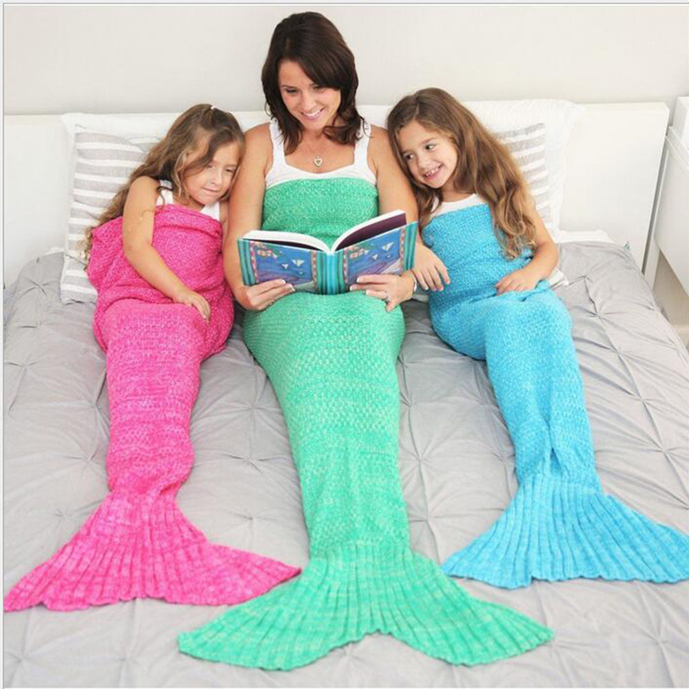 195x95CM Yarn Knitted Mermaid Tail Blanket Super Soft Sleeping Bed Handmade Crochet  Portable Blanket For Autumn Winter 195x95cm yarn knitted mermaid tail blanket super soft sleeping bed handmade crochet portable blanket for autumn winter