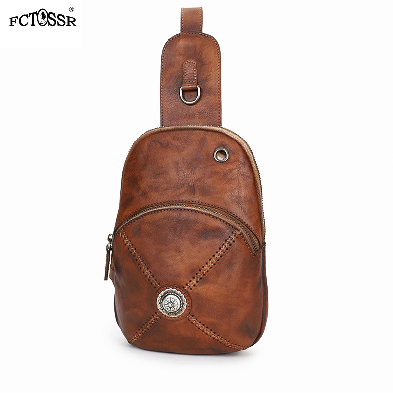 New Original Vintage Leather Chest Bag With Men And Women Personality Simple Cross body Bag Leather Handmade Bag