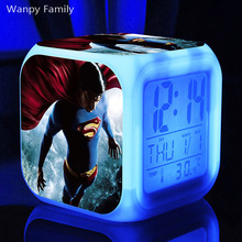 [Wanpy Family] Superhero Movie Superman Alarm Clock For Childrens Birthday Gifts Bedside Desktop Color Changing