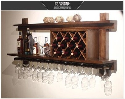 Wall Mounted Wood Wine Racks Wine Bar European Modern Glass Rack
