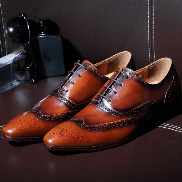 QuarterbacSquare Toe Whole Cut Lace-Up Oxfords Patina Brown 100%Genuine Calf Leather Outsole Breathable Goodyear Welted Men Shoe cie square toe semi brogues lace up oxfords patina purple 100%genuine calf leather bottom outsole goodyear welted men shoeox678