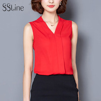 SSLine Women Chiffon Blouses v neck Ladies Tops Fe ...