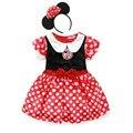 2015 Hot Crianças Menina Dos Desenhos Animados Minnie Vestido Do Natal Do Bebê Vestido Com Arco Dot Crianças Vestidos de Princesa Minnie Traje de Halloween