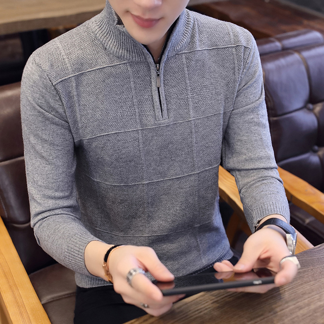 ff68c21f0 2018 Men's Sweaters Autumn Winter Warm Cashmere Wool Zipper Pullover  Sweaters Man Casual Knitwear Plus Size M-XXXL