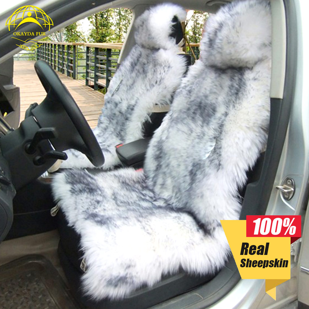 OKAYDA Seat covers fur Australia sheepskin Car universal Interior accessories fur cushion deluxe winter warm high free shipping in Automobiles Seat Covers from Automobiles Motorcycles
