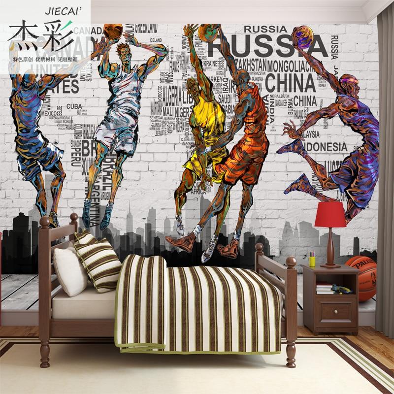 Photo wallpaper 3d stereo cartoon wallpaper mural for Basketball court wall mural