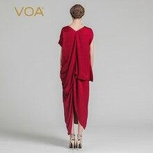 Chinese Red V-neck Silk Loose Irregular Dresses
