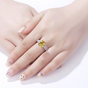 Image 4 - Newshe 2.7Ct黄色クッションカット固体 925 スターリングシルバーの結婚指輪婚約指輪ブライダルセット