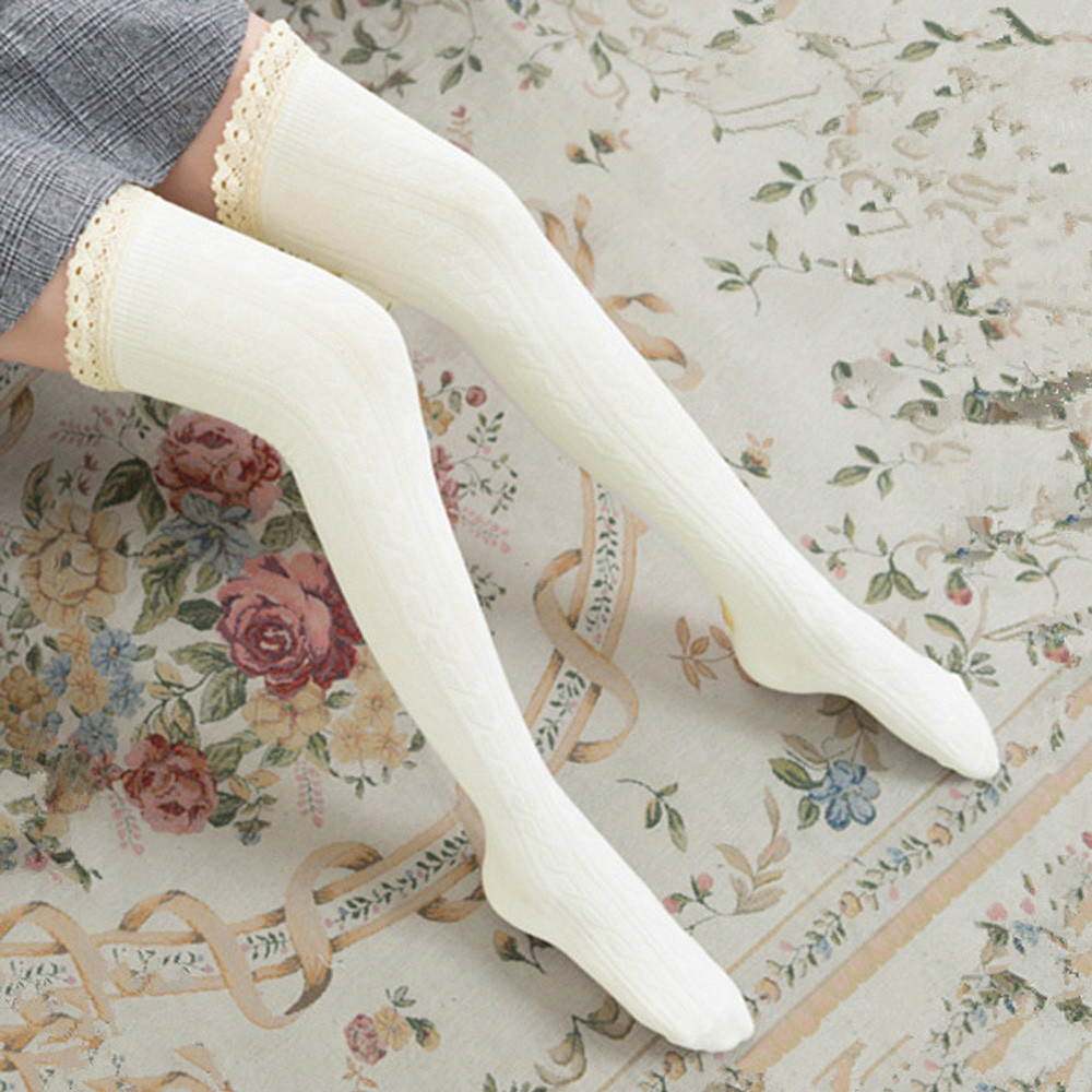 Winter Stockings 5 Colors Women Lace Slim Stockings Sexy Warm Thigh High Over The Knee Long Cotton Stockings Girls
