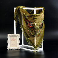 Army Green Women Rayon Scarf Shawl Chinese National Muffler Shawls Chal Muslim Hijab Handmade Beaded Pashmina Stole 150*70cm