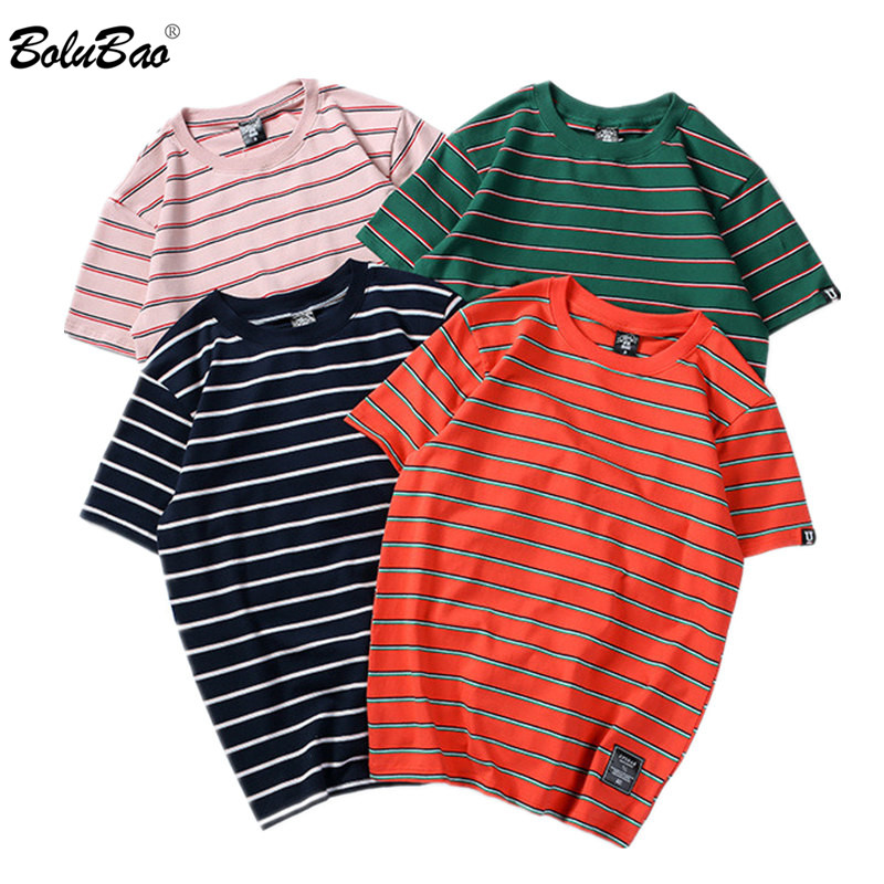 BOLUBAO New Fashion Brand Men's T Shirt 2019 Summer Solid Color Striped Casual Men T-Shirts Street Men Tee Shirt Top