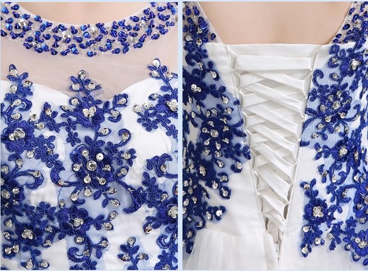 Robe de soiree 2019 korte lace up u kraag blauw en wit porselein - Jurken voor bijzondere gelegenheden - Foto 4