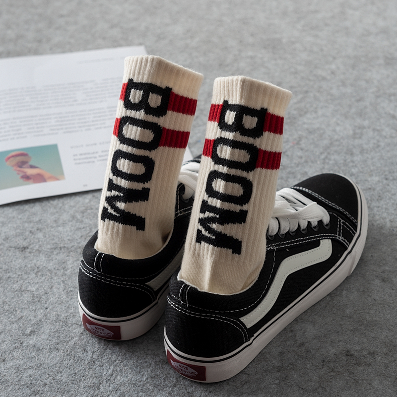 Harajuku Men Color Hipster Skateboard Socks Boom Letter Patterned Striped Casual Cotton Thick Warm Crew Hip Hop Letter Funny Sox