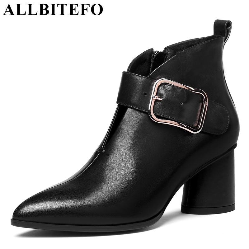 Femmes Épais Allbitefo Véritable 34 marron Moto Talons De Talon Filles Bottines Taille Hiver Mode Noir Cuir Boucle Hauts 42 Bottes x0F0XSq