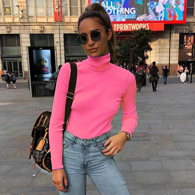 4cba14dfd65 Cryptographic Ribbed long sleeve 2019 new fashion neon pink solid  turtleneck casual t-shirts pullover women tops streetwear
