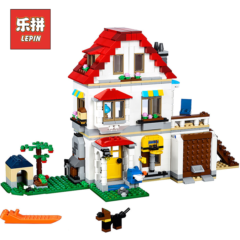 Lepin 24046 the American Style Family Villa House Set Model Building Blocks Compatible 31069 Educational Kids Creative Toys