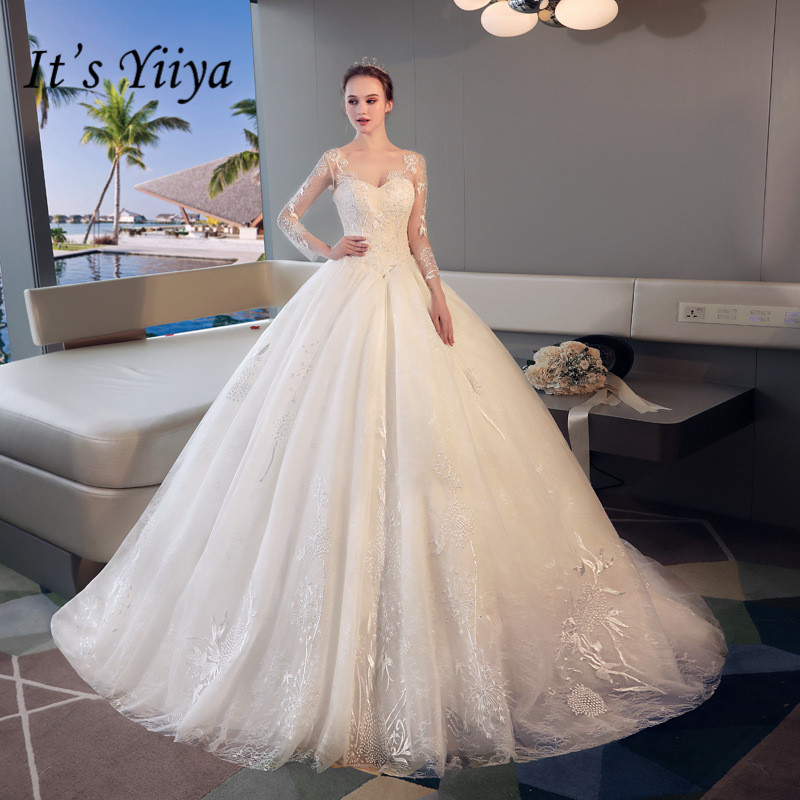 Aliexpress It S Yiiya Strapless Lace Train Wedding Dresses Off White Trailing Brides Gowns Beading Vestidos Deovia Casamento Hx050 From Reliable