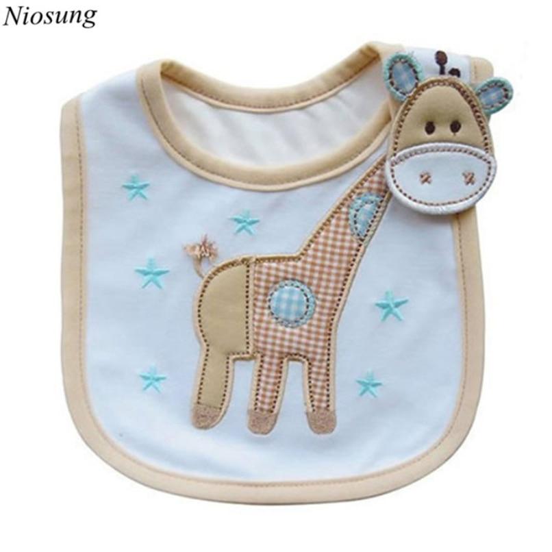 Niosung Baby Infants Kids Bibs Baby Lunch Bibs Cute Cartoon Pattern Towel 3 Layer Waterproof
