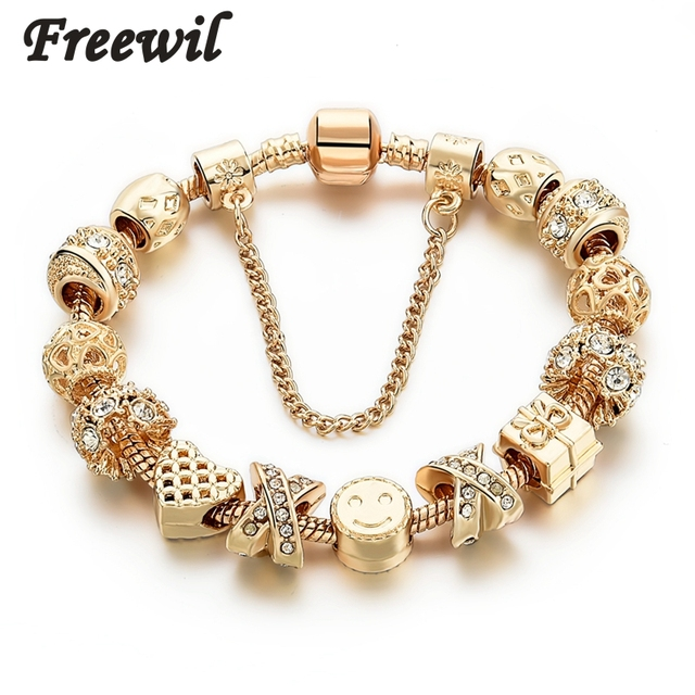 2016 New Arrival Heart Charm Bracelets For Women Gold Chain Bead Bracelets & Bangles Original Pulsera SBR160131