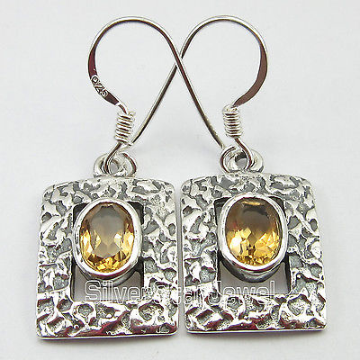 Chanti International OLD STYLE !! SOLID Silver YELLOW Cut Citrines GIRLS DANGLING Earrings 3.2 CM