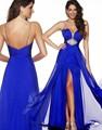 Elegante Azul Royal Longo Vestido de Noite Chiffon 2016 Mulheres Pageant Vestido Formal do baile de Finalistas Do Partido Sexy Strass Vestido De Festa