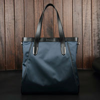 Quality Large capacity Canvas Bags Waterproof Nylon with Genuine Leather Men Bags Black Blue Handbags & Crossbody Bags (XW8558)