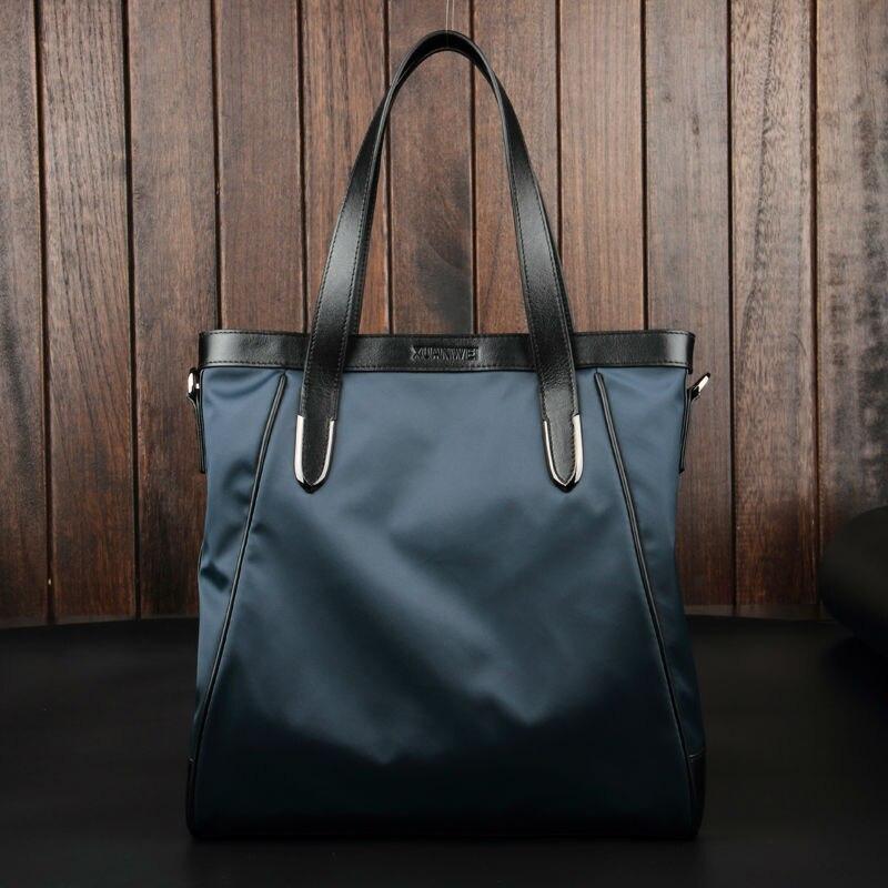 Sacs en toile de grande capacité de qualité en Nylon imperméable avec des sacs en cuir véritable pour hommes sacs à main bleu noir et sacs à bandoulière (XW8558)