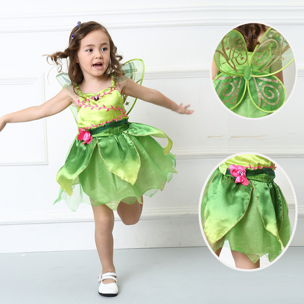 (inkludera vinge) Tinkerbell prinsessa Woodland Fairy Dress Halloween Cosplay kostym för Kids Fairy Girls Green Dress med vinge