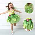 Tinkerbell princess Woodland Fairy Dress Halloween Cosplay Costume for Kids Fairy Girls Green Dress with wing