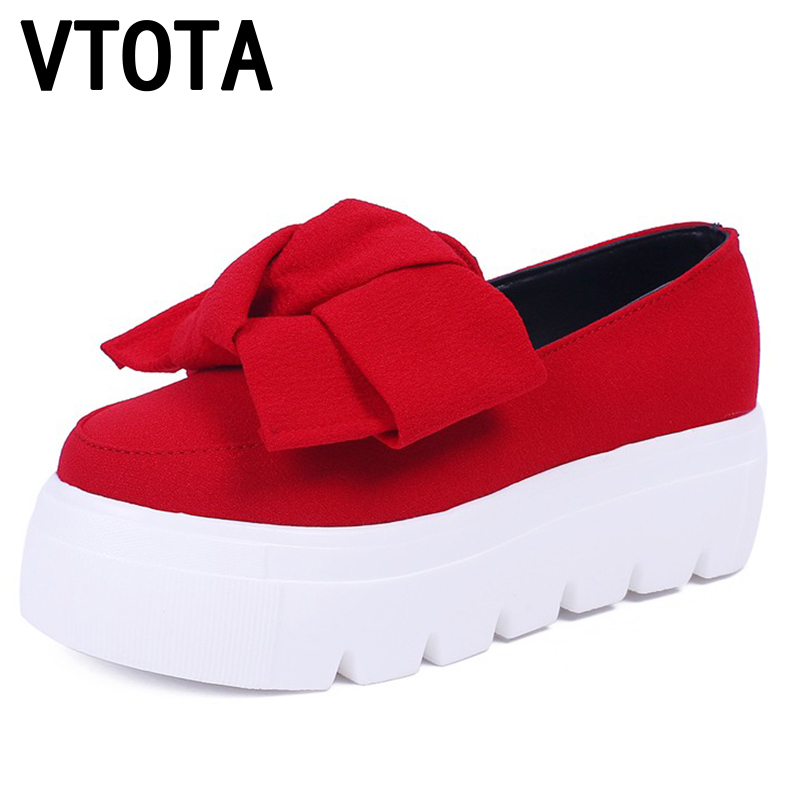 VTOTA 2017 Women Flat Shoes Slip On Shoes For Women Bowtie Muffin Platform 5CM Shoes Women Flats Loafers Women Casual Shoes P144 charming nice siketu 2017 fashional women flats shoes slip on comfort shoes flat shoes loafers best gift drop shipping y30